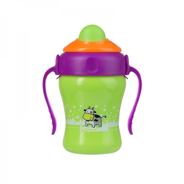 Babyono εκπαιδευτικό ποτήρι με  χερούλια και καλαμάκι 220ml BPA - free