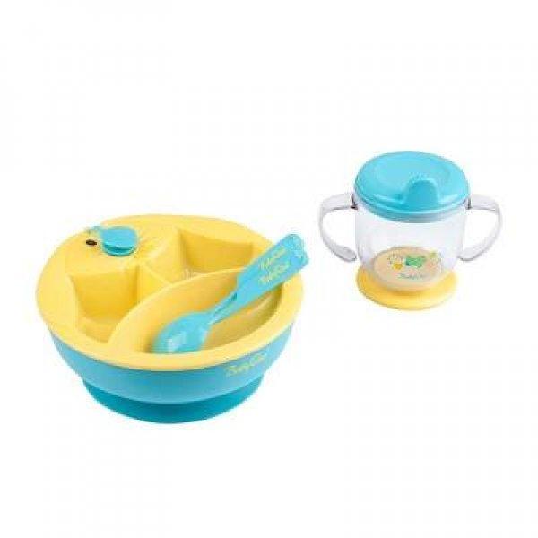 Baby Ono Σετ φαγητού θερμαινόμενο πιατάκι με ποτήρι και κουτάλι