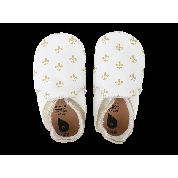 Bobux βρεφικά παπουτσάκια White/Gold Leur De Lis/Gold Trims Loafer Μ