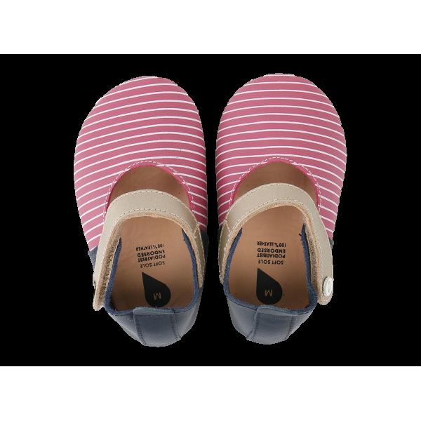 Bobux Sherbet βρεφικά παπούτσια /White Stripes/Gold Strap Ja softsoles Μ