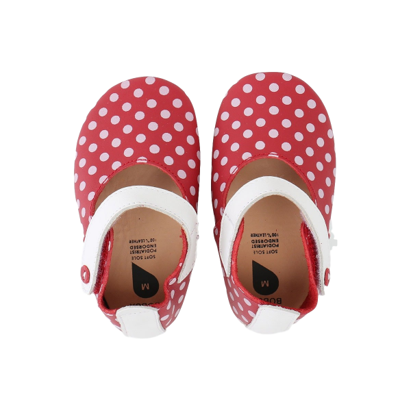 Bobux Red/White Spots βρεφικά παπούτσια Mary Jane M softsoles
