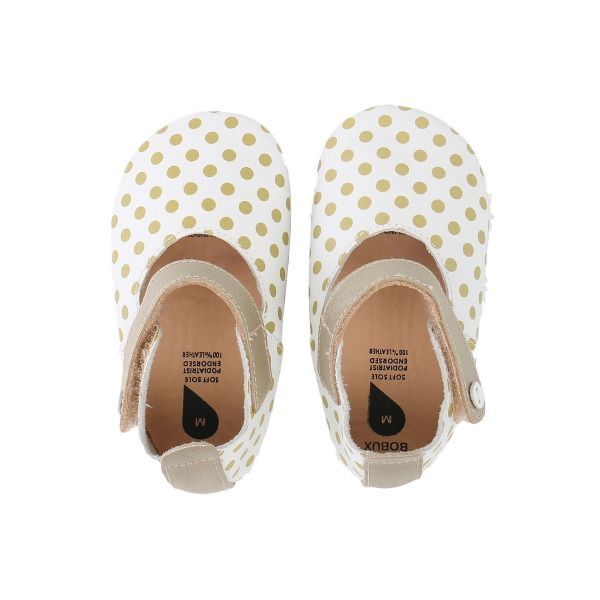 Bobux βρεφικά παπούτσια White/Gold Spots/Gold Trims Mary Jane M softsoles