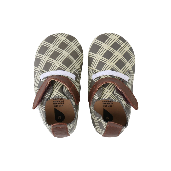Bobux βρεφικά παπούτσια  Grey/Milk Check/Tan Trim Trainer M softsoles