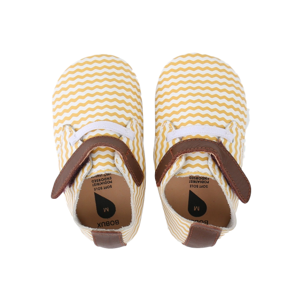 Bobux White/Chartreuse Chevron/Tan Trim Traine βρεφικά παπούτσια M softsoles