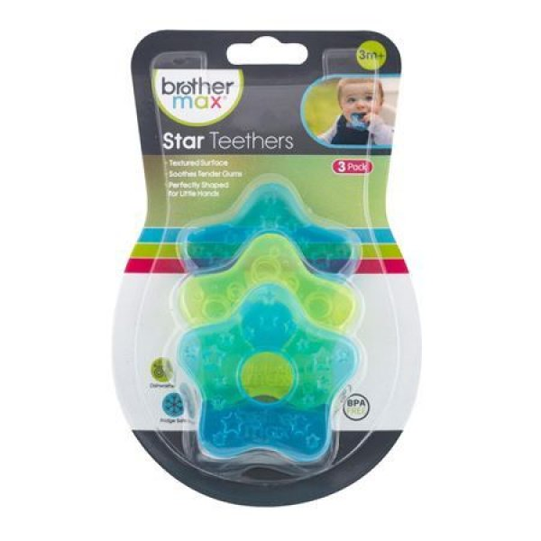 Brother Max Mini Star Teethers 3τεμ - blue/green