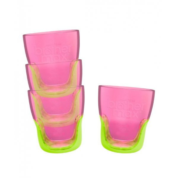 Brother Max Teach Me Cups εκπαιδευτικά ποτηράκια  pink/green 4 τεμάχια