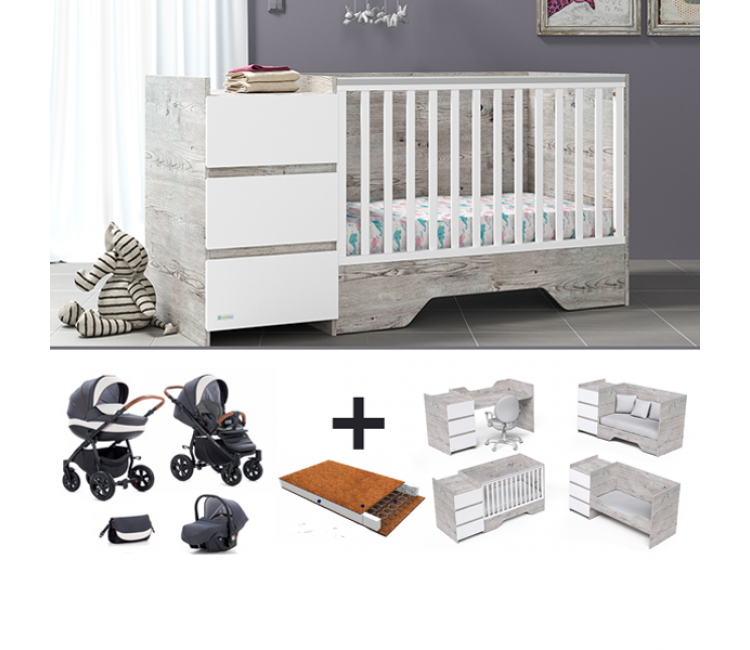Casababy combo deal με βρεφικό καρότσι 3 σε 1, στρώμα και προίκα 3 τεμ