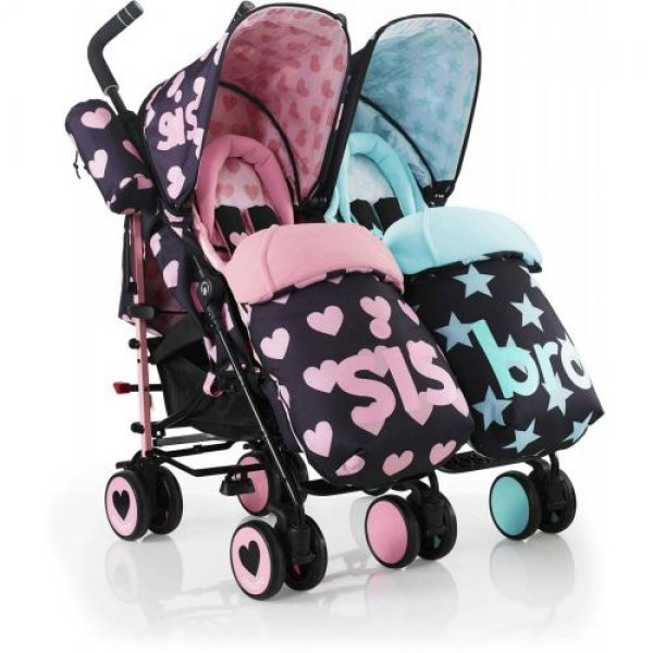Cosatto Supa Dupa Twin stroller καρότσι διδύμων sis & bro  5