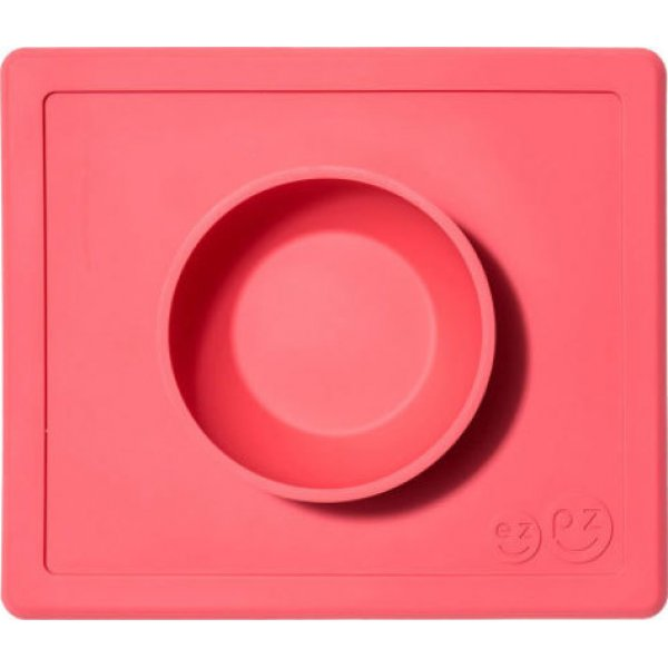 Ezpz Δίσκος και μπολ σε ένα Happy bowl in Coral