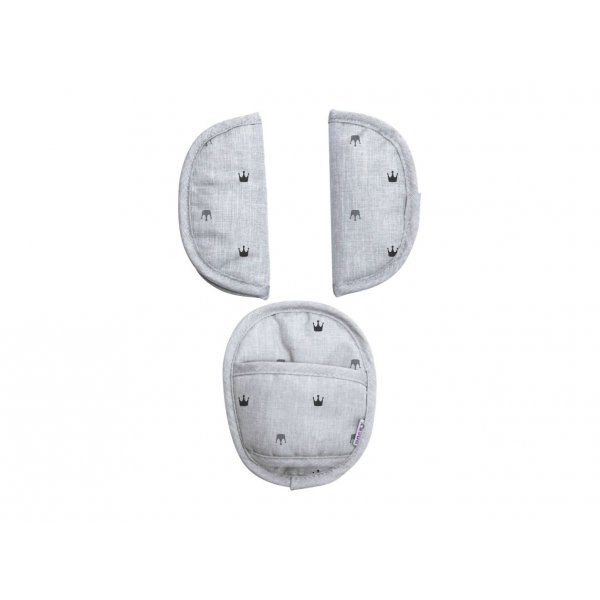 JustBaby Universal Pads Παντάκια για ζώνη 5 σημείων Grey Crowns
