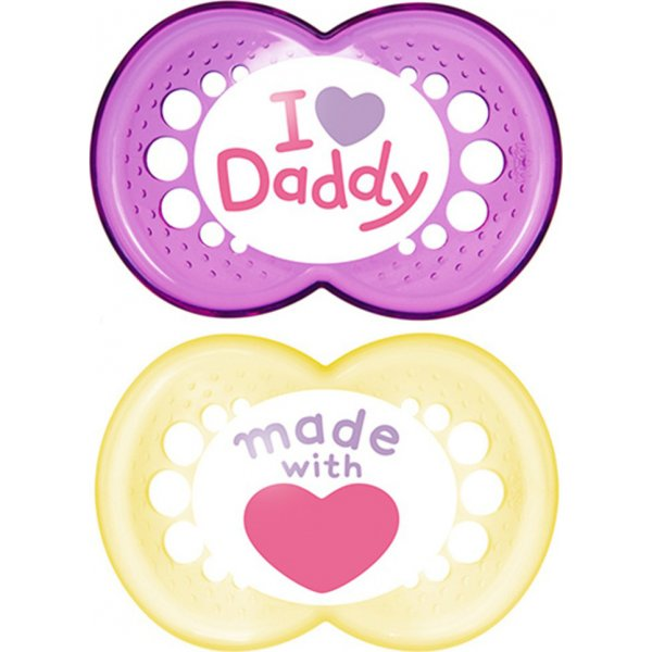MAM πιπίλα 2τεμ I Love mummy and Daddy l latex 6+ μηνών