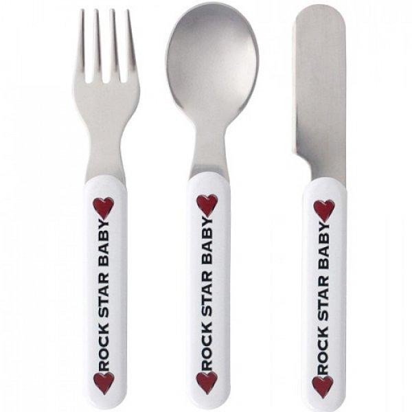 Rock star Baby Heart & Wings βρεφικό σετ φαγητού κουτάλι, πιρούνι, μαχαίρι 3 τεμ