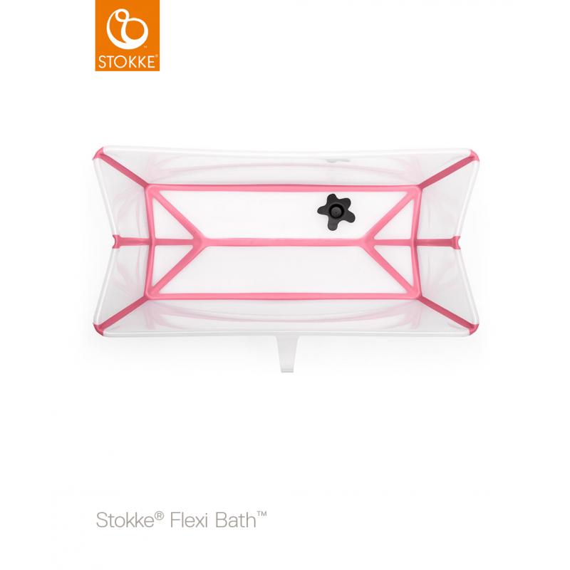 Stokke Flexi Bath μπανάκι με θερμοευαίσθητη βαλβίδα Transparent pink
