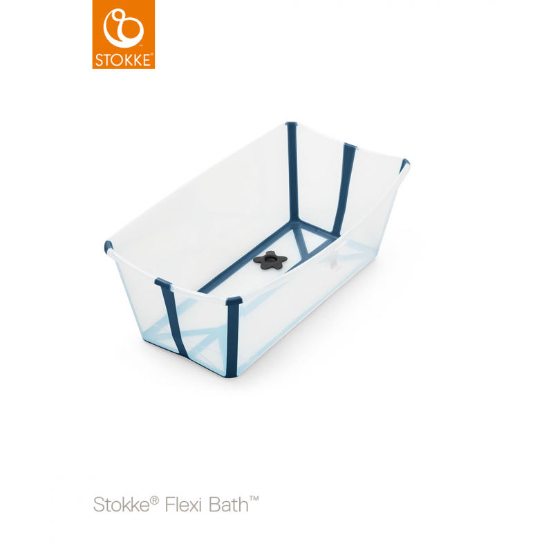 Stokke Flexi Bath μπανάκι με θερμοευαίσθητη βαλβίδα transparent blue