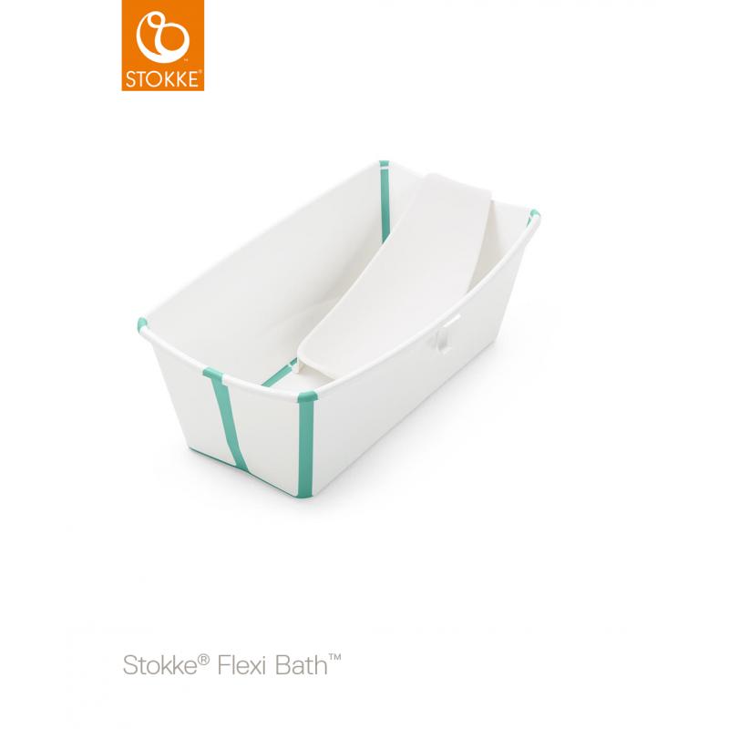 Stokke Flexi Bath Bundle με βάση νεογέννητου και θερμοευαίσθητη βαλβίδα White Aqua