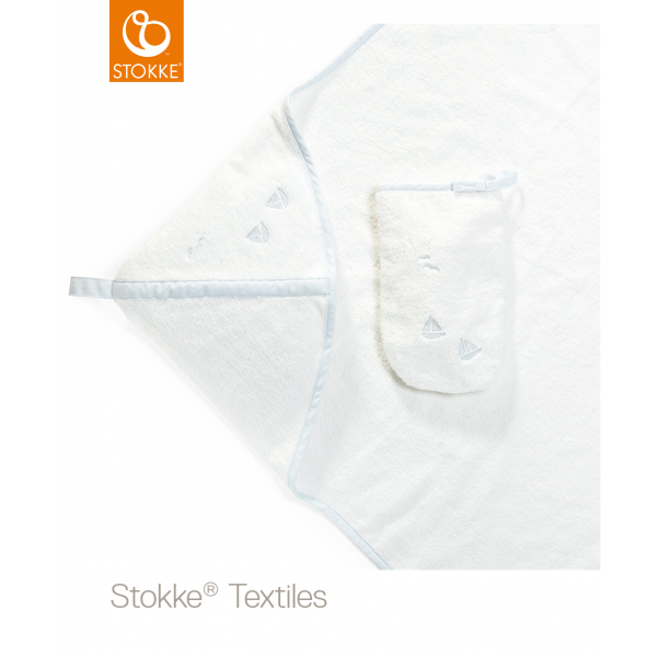Stokke hooded towel πετσέτα με κουκούλα blue sea organic cotton