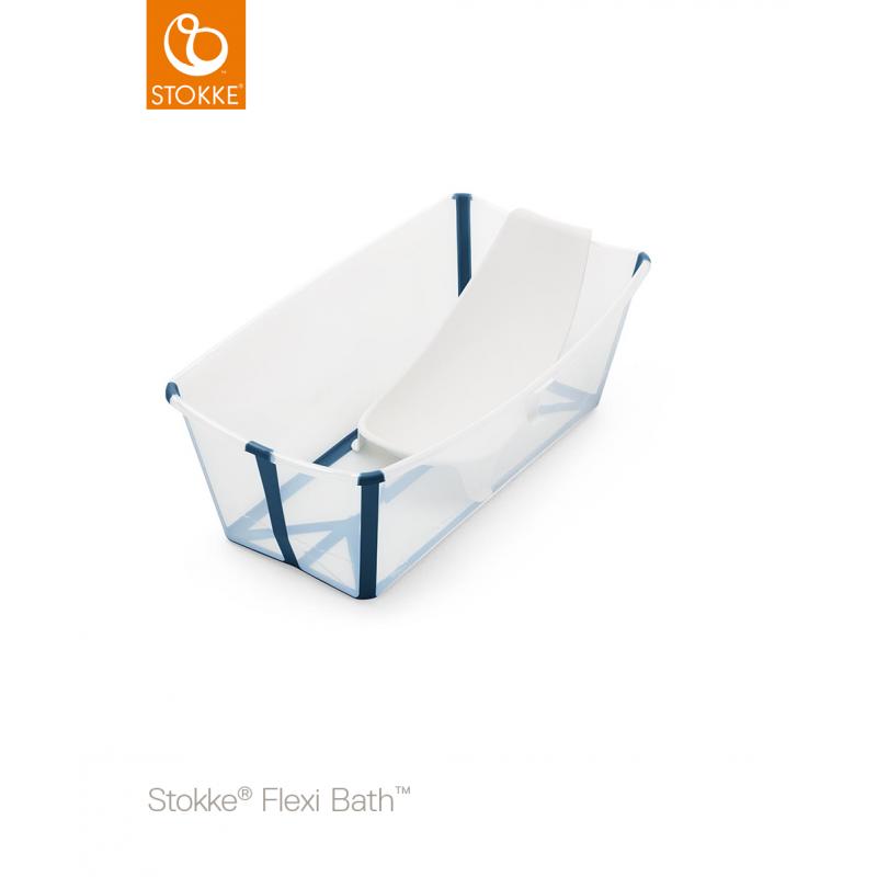 Stokke Flexi Bath με βάση νεογέννητου και θερμοευαίσθητη βαλβίδα Transparent blue