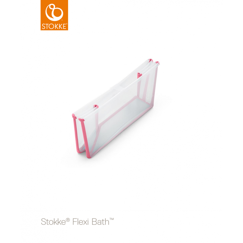 Stokke Flexi Bath με βάση νεογέννητου και θερμοευαίσθητη βαλβίδα Transparent Pink