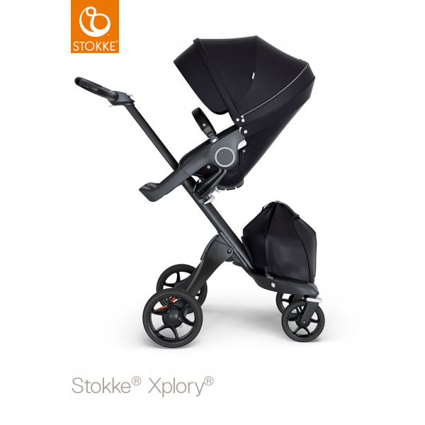 Stokke xplory black chassis black leatherette with Black seat