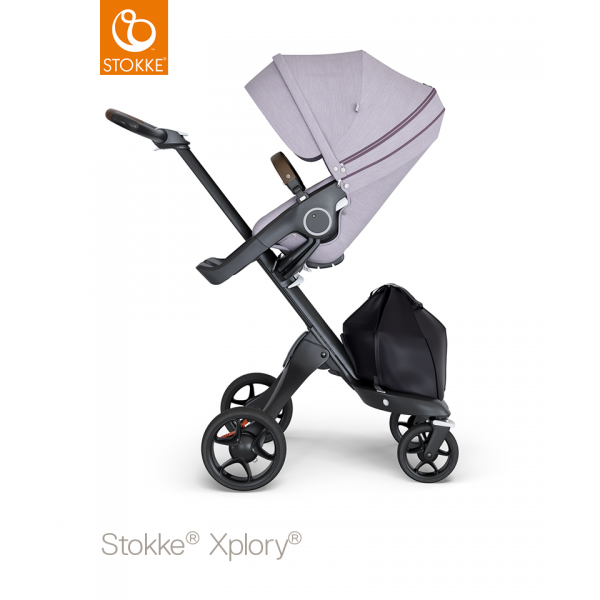 Stokke xplory black chassis brown leatherette with brushed lilac seat