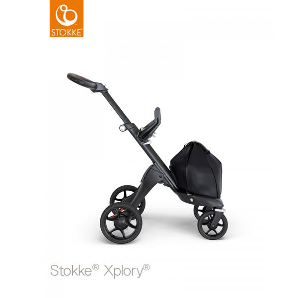 Stokke Xplory V6 Black chassis brown leatherette handle