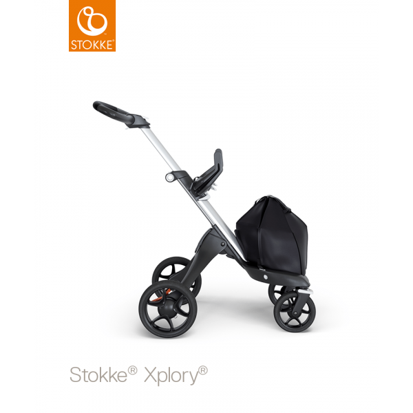 Stokke Xplory V6 silver chassis with Black leatherette handle