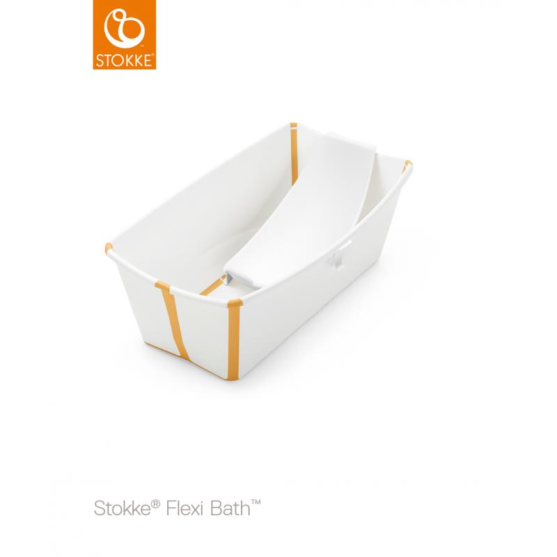 Stokke Flexi Bath με βάση για νεογέννητο και θερμοευαίσθητη βαλβίδα white yelllow