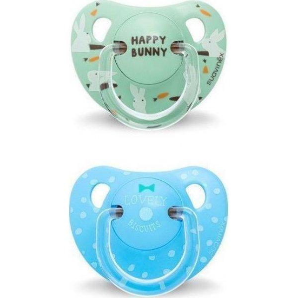 Suavinex Aνατομική  Πιπίλα Σιλ Green Happy Bunny +18M 2Τεμ