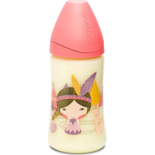 Suavinex Μπιμπερό πλαστικό 270ml Σιλ 3P Pink Indian(3800055)