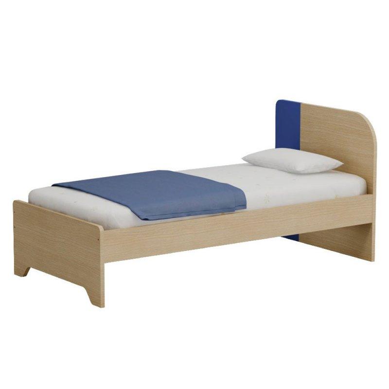 Alfaset κρεβάτι Duomo μονό 97x90x198 δρυς φυσικό – μπλε