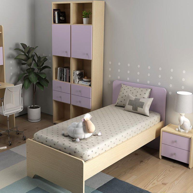 Alfaset κρεβάτι Econd μονό 97x85x198 δρυς φυσικό – Λιλά