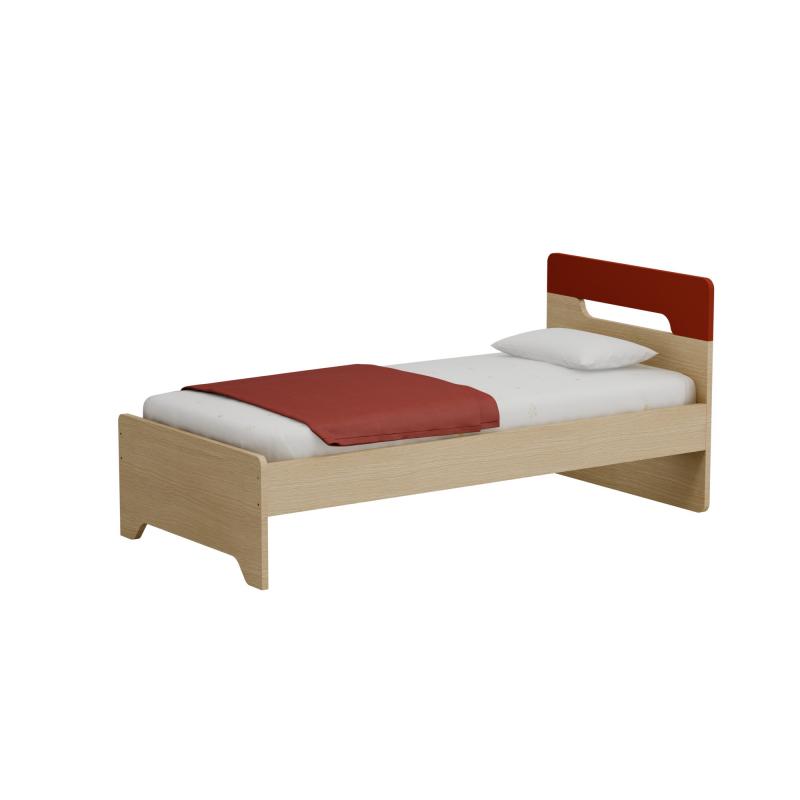Alfaset κρεβάτι Oppo μονό 97x90x198 δρυς φυσικό – κοκκινο