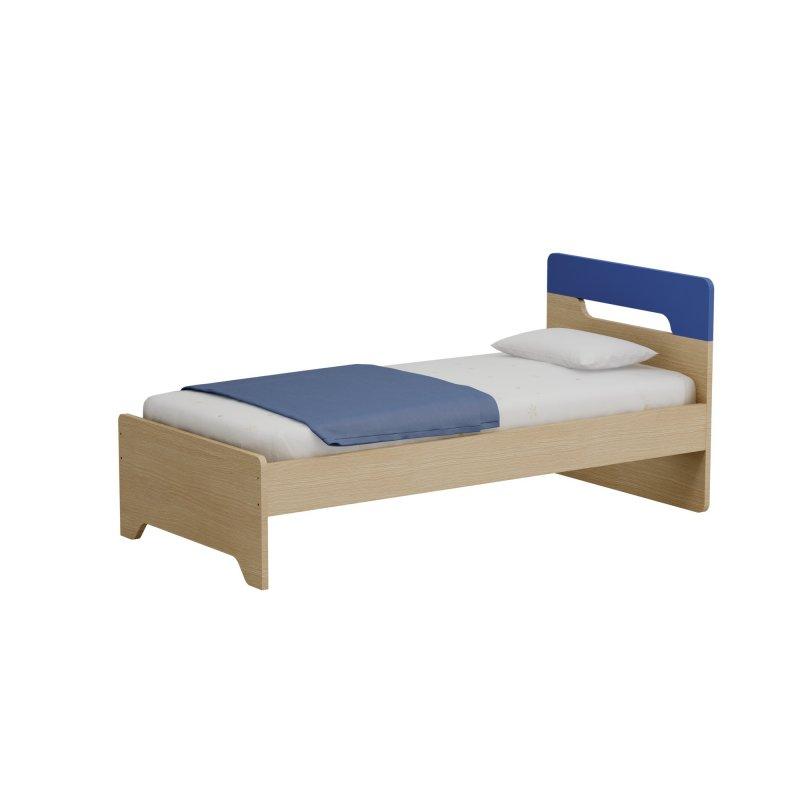 Alfaset κρεβάτι Oppo μονό 97x90x198 δρυς φυσικό – μπλε