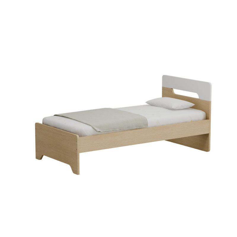 Alfaset κρεβάτι Oppo μονό 97x90x198 δρυς φυσικό – λευκό