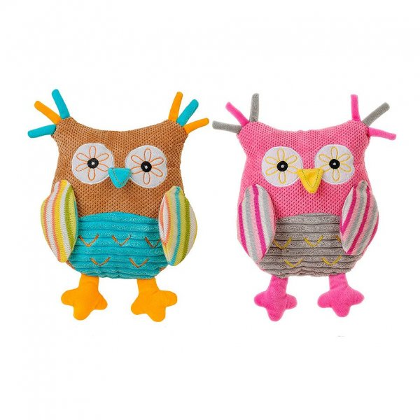 Babyono Owl with rattle Μαλακό παιχνίδι με ήχο κουδουνίστρας Κουκουβάγια