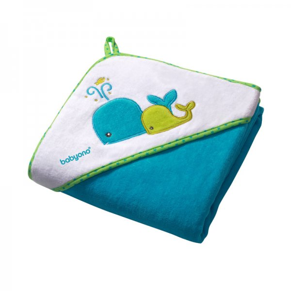 Baby Ono Velour hooded towel blue πετσέτα βελουτέ με κουκούλα 100x100