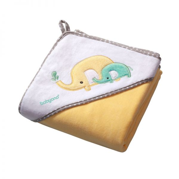 Baby Ono Velour hooded towel 100x100 yellow πετσέτα βελουτέ με κουκούλα