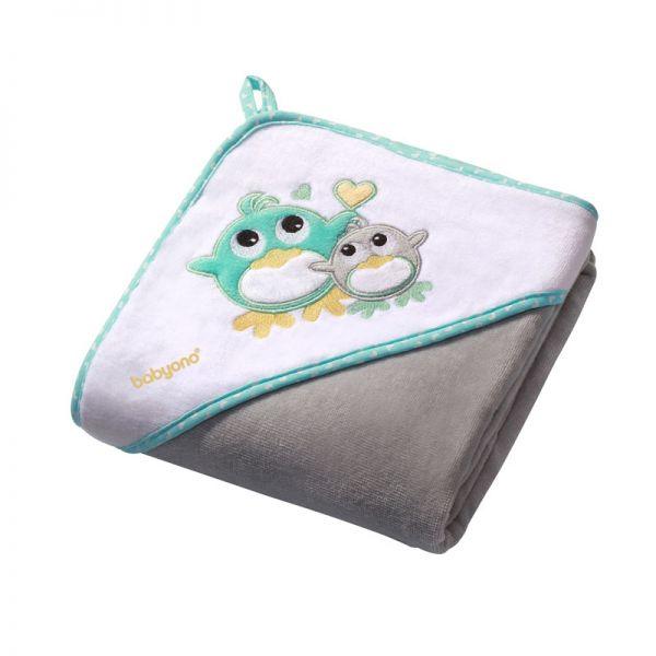 Baby Ono Velour hooded towel 100x100 grey βελουτέ πετσέτα με κουκούλα