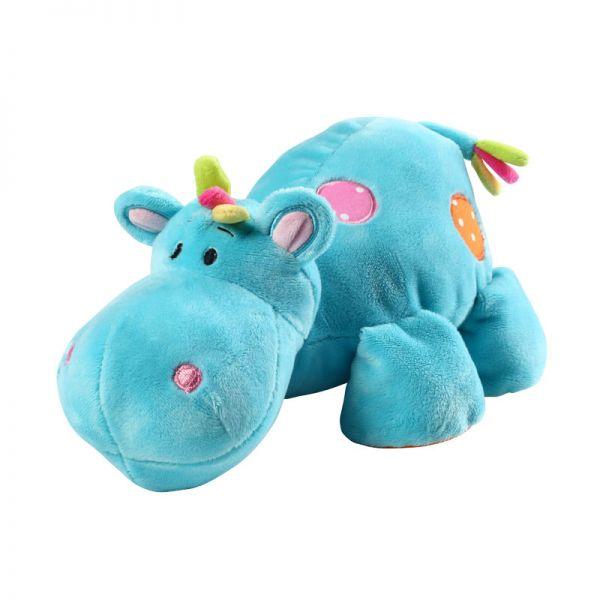 Babyono Velour toy with rattle  hippo μαλακό παιχνίδι αγκαλιάς