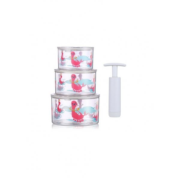 Berz baby Vacuum storage 3 X Μπολ αποθήκευσης σε κενό αέρος, με τρόμπα ροζ