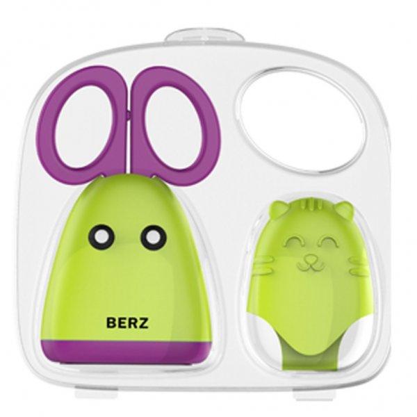 Berz Ψαλιδάκι ανοξείδωτο & προστατευτικό γαντάκι ζωάκι σιλικόνης πράσινο