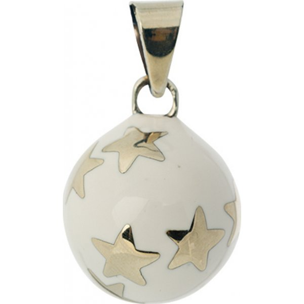 Bola white silver stars μουσικό μενταγιόν εγκυμοσύνης