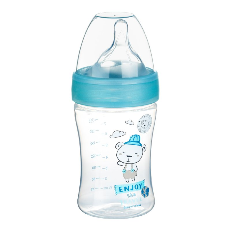 Canpol Babies Πλαστικό Μπιμπερό κατά των Κολικών Haberman Bear Blue 260ml