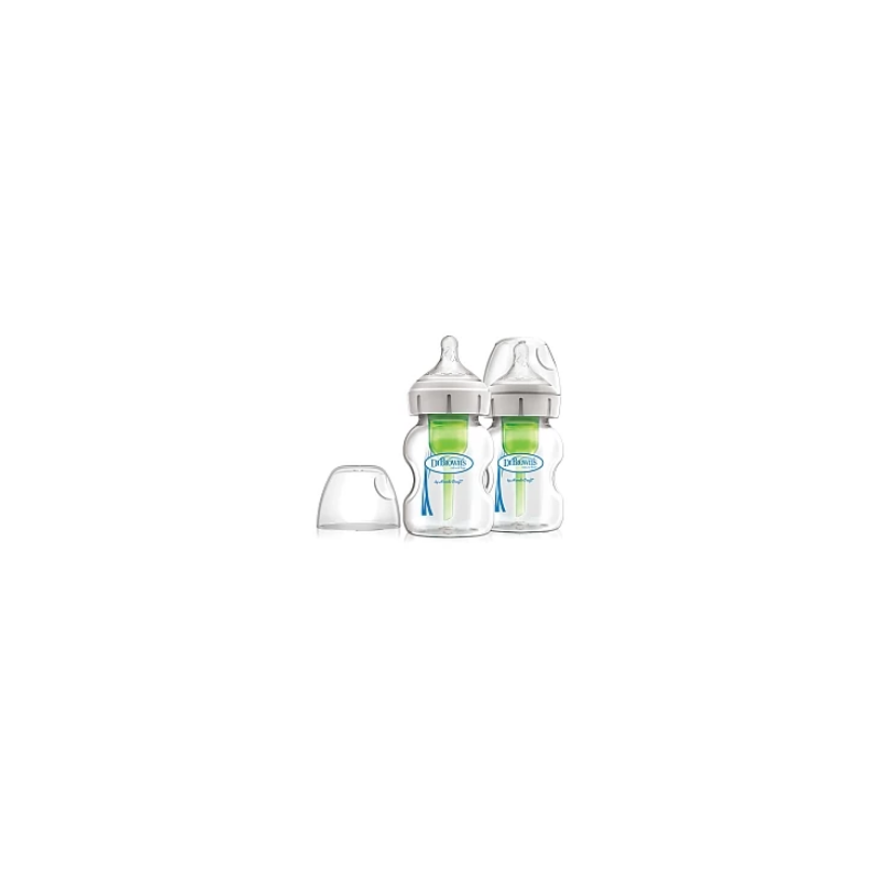 Dr Brown's μπιμπερό γυάλινο με φαρδύ λαιμό natural flow με Θηλή Σιλικόνης 0m+ (WB52700) 2 τεμ*150ml