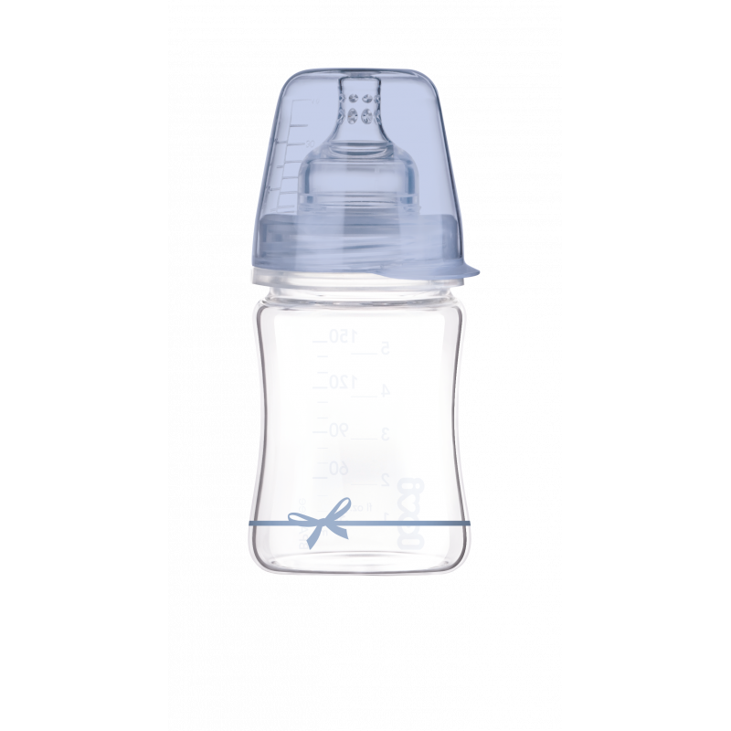 Lovi Diamond Γυάλινο Μπιμπερό με Θηλή Σιλικόνης Baby Shower 150ml 0m+