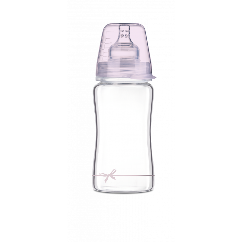 Lovi Diamond Γυάλινο Μπιμπερό με Θηλή Σιλικόνης Baby Shower 250ml 3m+