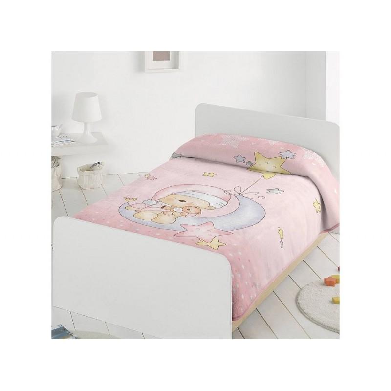 Pielsa Κουβέρτα Αγκαλιάς Βελουτέ Ισπανίας Sleepy Bear Ροζ 80x110 cm