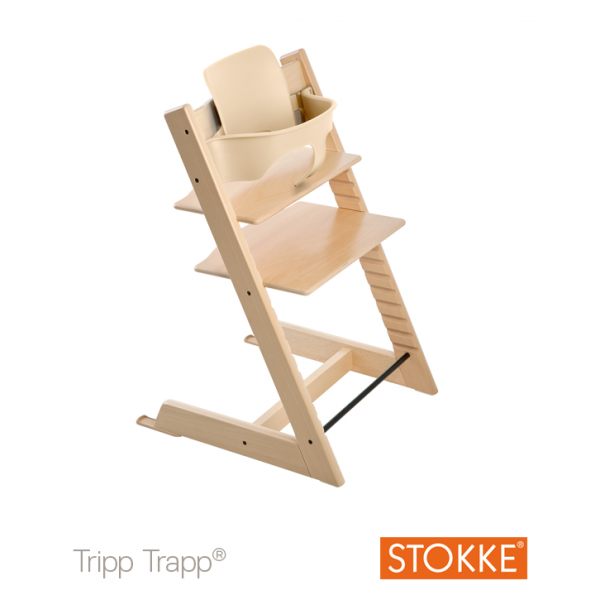 Stokke Tripp Trapp with baby set κάθισμα φαγητού natural και δώρο τα ζωνάκια
