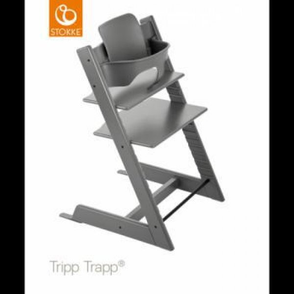 Stokke Tripp Trapp with baby set κάθισμα φαγητού storm grey και δώρο τα ζωνάκια