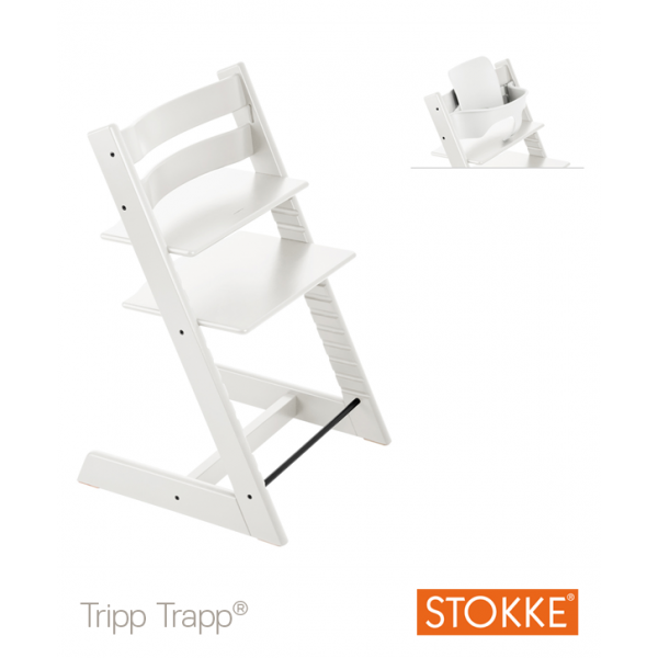 Stokke Tripp Trapp with baby set κάθισμα φαγητού white και δώρο τα ζωνάκια